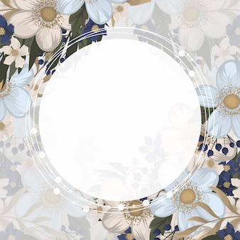 Circle white frame with flowers