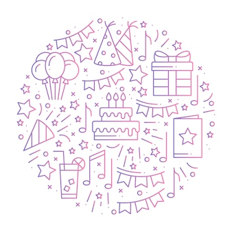 Circle with birthday party symbols