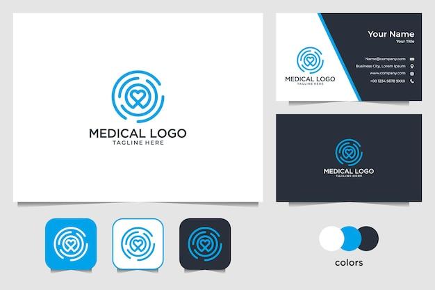 医療ロゴデザインと名刺のための健康とサークル