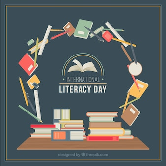 Circle with school items for literacy day