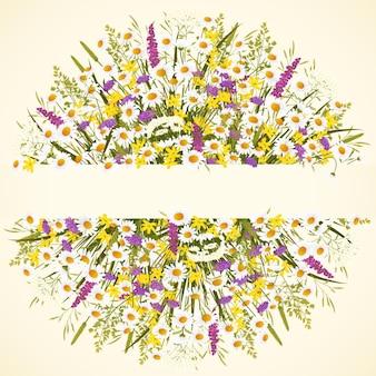 중간 그림에 야생 꽃과 복사 공간이 있는 원