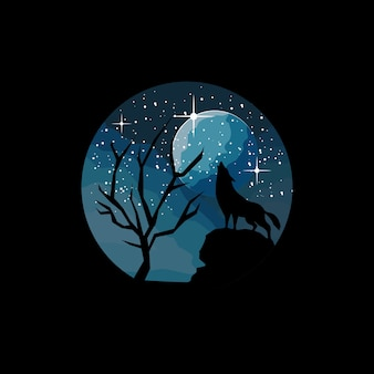 Circle wolf illustration