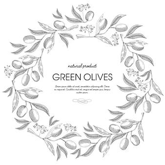 올리브와 글자의 장식으로 원형 화환 장식 딸기 스케치 구성