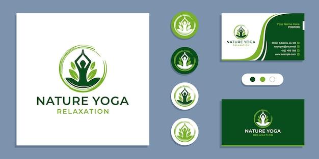 サークル禅、葉を持つヨガの人々、自然ヨガ瞑想のロゴと名刺デザインテンプレート
