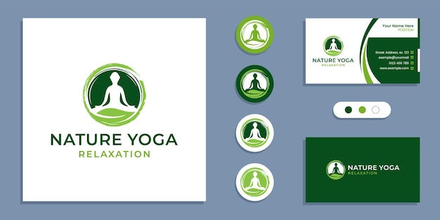 Circle zen, yoga people with leaf, nature yoga meditation logo and business card design template