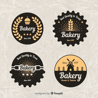 Circled bakery logos collection