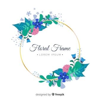 Circled floral frame background