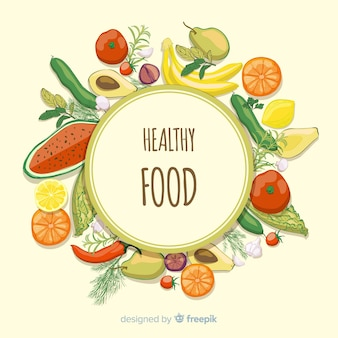 Circled frame fresh food background