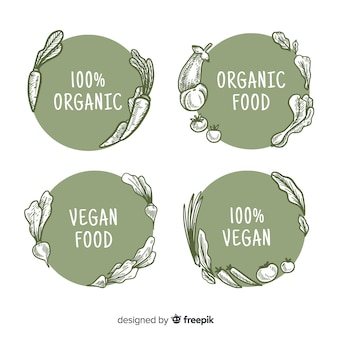 Circled hand drawn organic food label collection