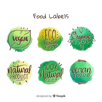 Circled organic food label collection