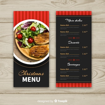 Circled photograph christmas menu template