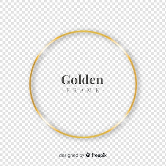 Circled realistic golden frame