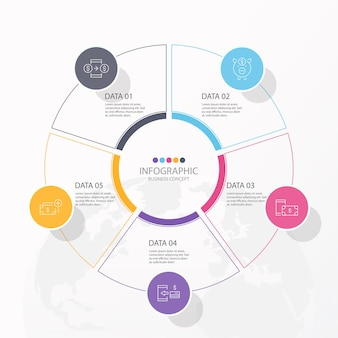 Circles infographic design with thin line and 5 options or steps