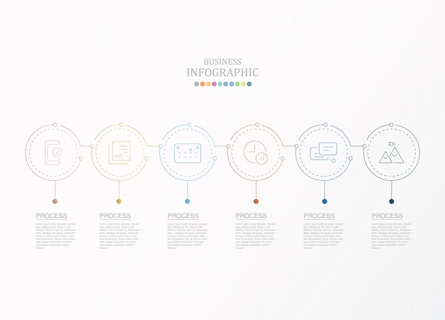 Circles infographic and icons with 6 steps.