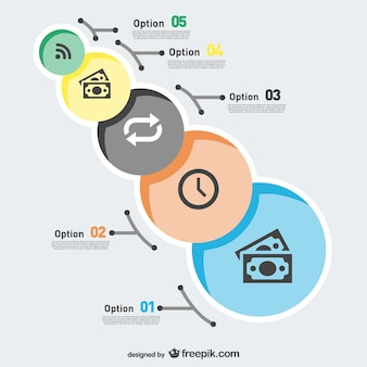 Circles infographic with notes and a clock