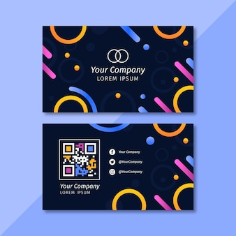 Circles and lines horizontal business card template