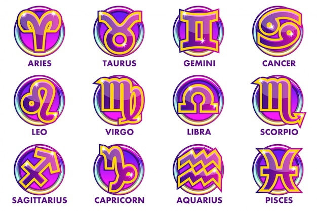 Circles purple astrology signs, 12 zodiac symbols. app icons for ui