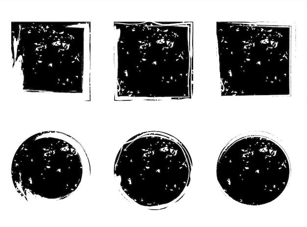 Circles and square grunge shapes