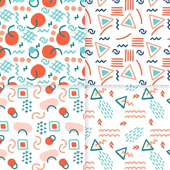 Circles and triangles abstract hand drawn pattern template