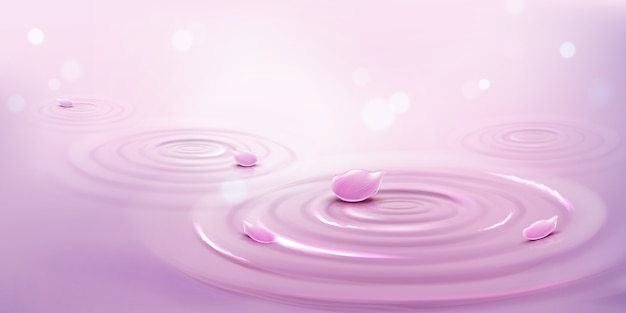Circles on water and pink flower petals, waves background