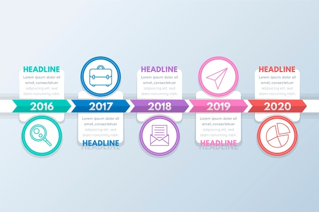 Circles with pictures and text boxes timeline infographic