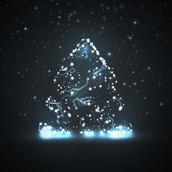 Circuit board background, christmas tree
