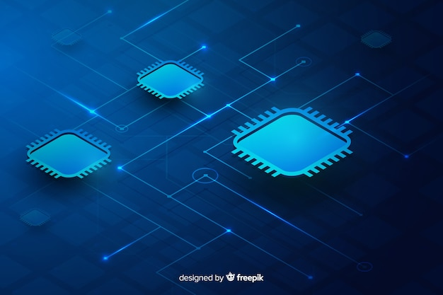 Circuit board background isometric style