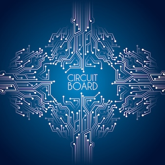 Circuit board over blue background vector illustration