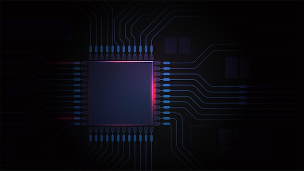 Circuit board cpu chip computer motherboard light power on processor dark background