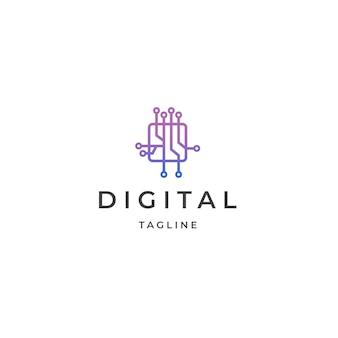 回路基板データ技術ロゴアイコンデザインテンプレートフラットベクトル