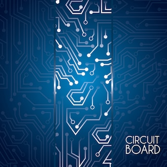 Circuit board design over blue background