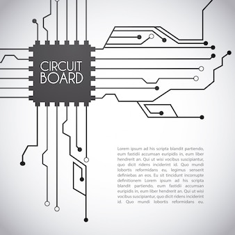 Circuit board design over gray background