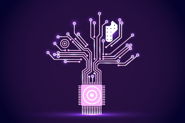 Circuit board electronic tree shape. electronic vector elements for cyber design.