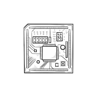 회로 기판 손으로 그린 개요 낙서 아이콘입니다. 컴퓨터 칩 및 프로세서, 하이테크, 하드웨어 개념. 인쇄, 웹, 모바일 및 흰색 배경에 인포 그래픽에 대한 벡터 스케치 그림.