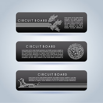 Circuit board infographic over gray background
