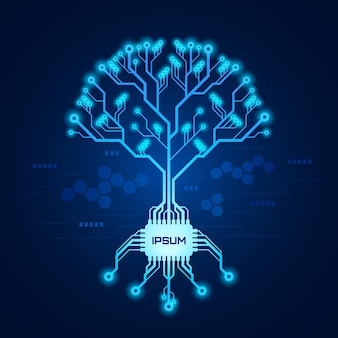 Circuit board pattern in form of a tree with roots formed with chip. futuristic tech tree