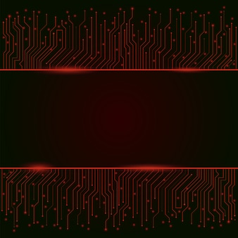 Circuit board, red abstract lights background