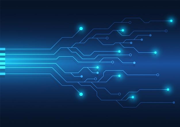 Фон технологии печатной платы с высокотехнологичной системой цифровой передачи данных и компьютерным электронным дизайном