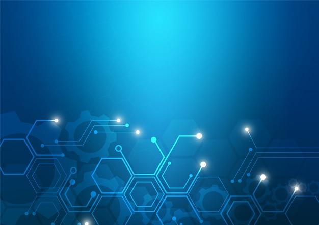 Фон технологии печатной платы с высокотехнологичной цифровой системой передачи данных и компьютерной электроникой