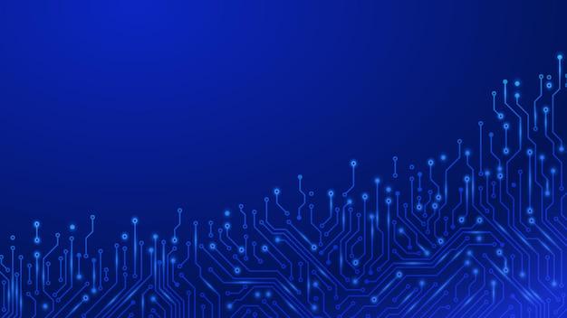 회로 기판 기술. 미래의 마더보드 마이크로칩 디지털 기술 전자 구성표 라인 벡터 배경. 그림 구성 요소 시스템, 마이크로 칩 장비, 회로도