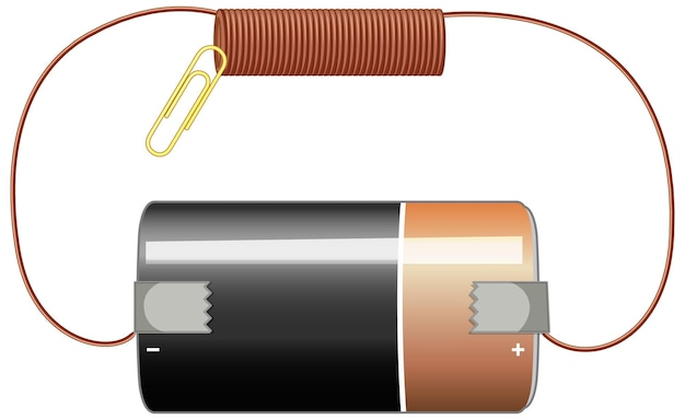 Circuit diagram with battery and copper
