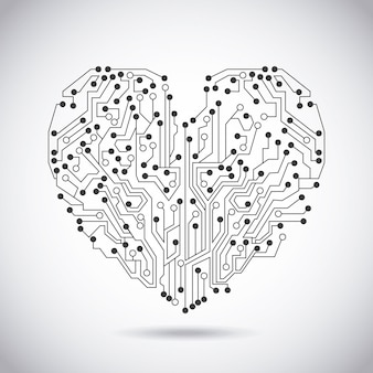 Circuit heart over vintage background vector illustration