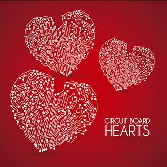 Circuit hearts over red background vector illustration