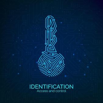 Схема ключа сканера отпечатков пальцев. электронная проверка и идентификация сканирования биометрических отпечатков пальцев. векторная иллюстрация