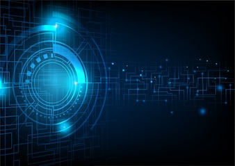 Circuit lines and abstract circle background