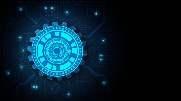 ハイテクデジタルデータ接続システムとコンピューター電子設計と回路技術の背景