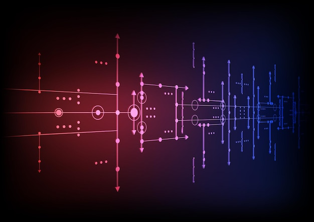 하이테크 디지털 데이터 연결 시스템 및 전자 설계와 회로 기술 배경