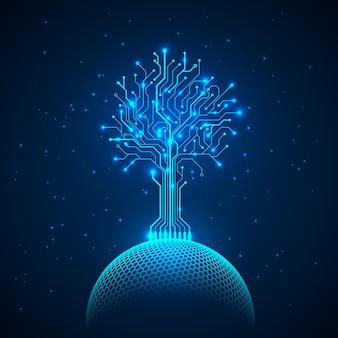 ネットワーク球上の回路ツリー。抽象的な未来的なホログラムsfの背景。ベクトルイラスト