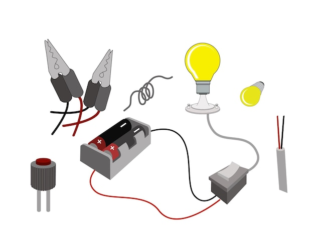 The circuit or working principl of light bulbs with battery