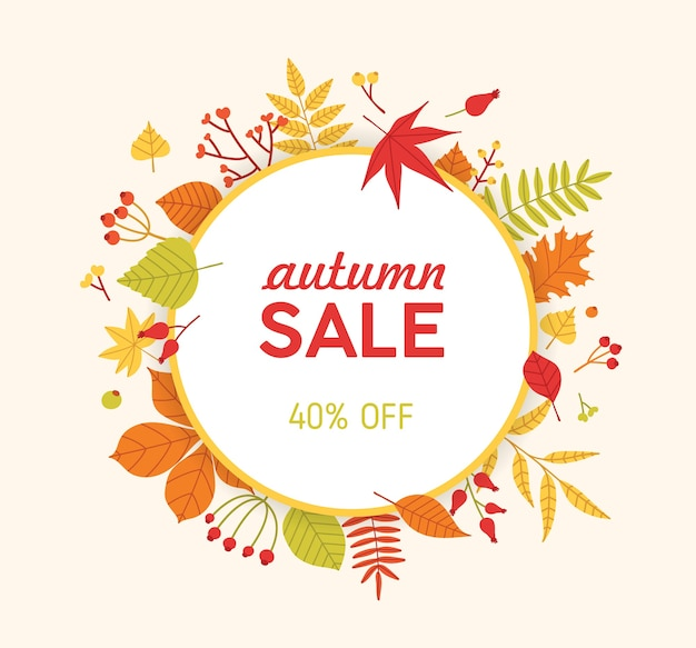 落ちた木の葉と果実で作られた円形の秋の構成、フレームまたは花輪